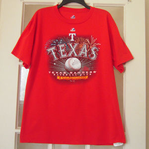 Texas Rangers 2011 Red Graphic T Shirt Sz M Cotton